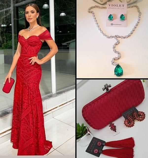 qual cor de acessórios usar com vestido vermelho