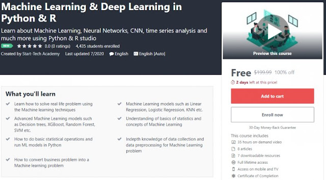 [100% Off] Machine Learning & Deep Learning in Python & R| Worth 199,99$