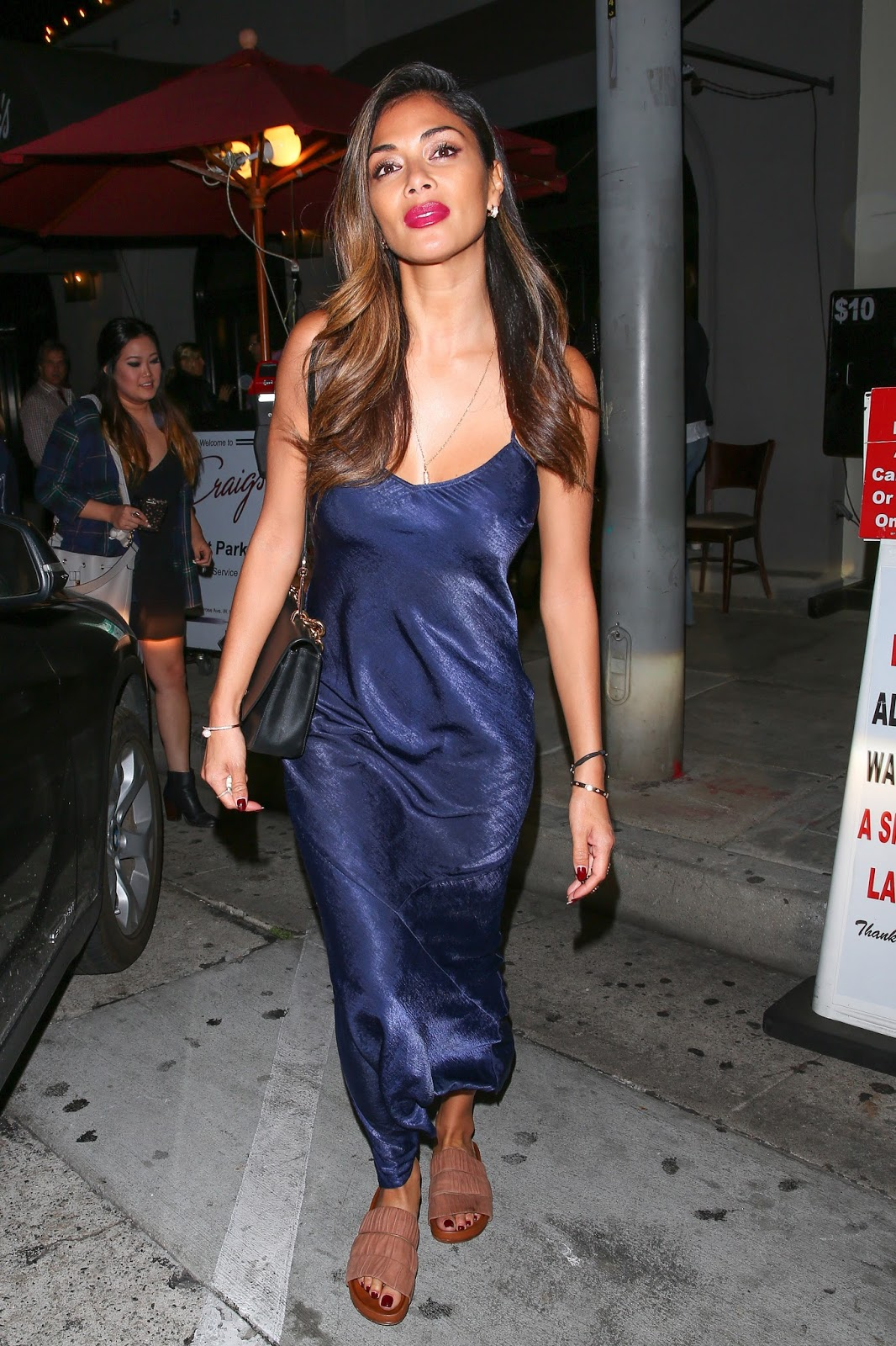 Ladies in Satin Blouses: Nicole Scherzinger - blue satin dress