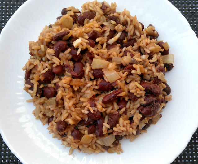 Rice and kidney beans on white plate