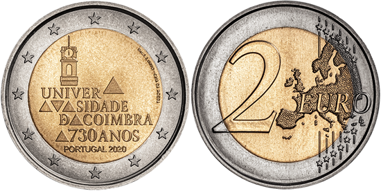 Portugal bimetallic 2 euro 2020 - 730 Years of the University of Coimbra