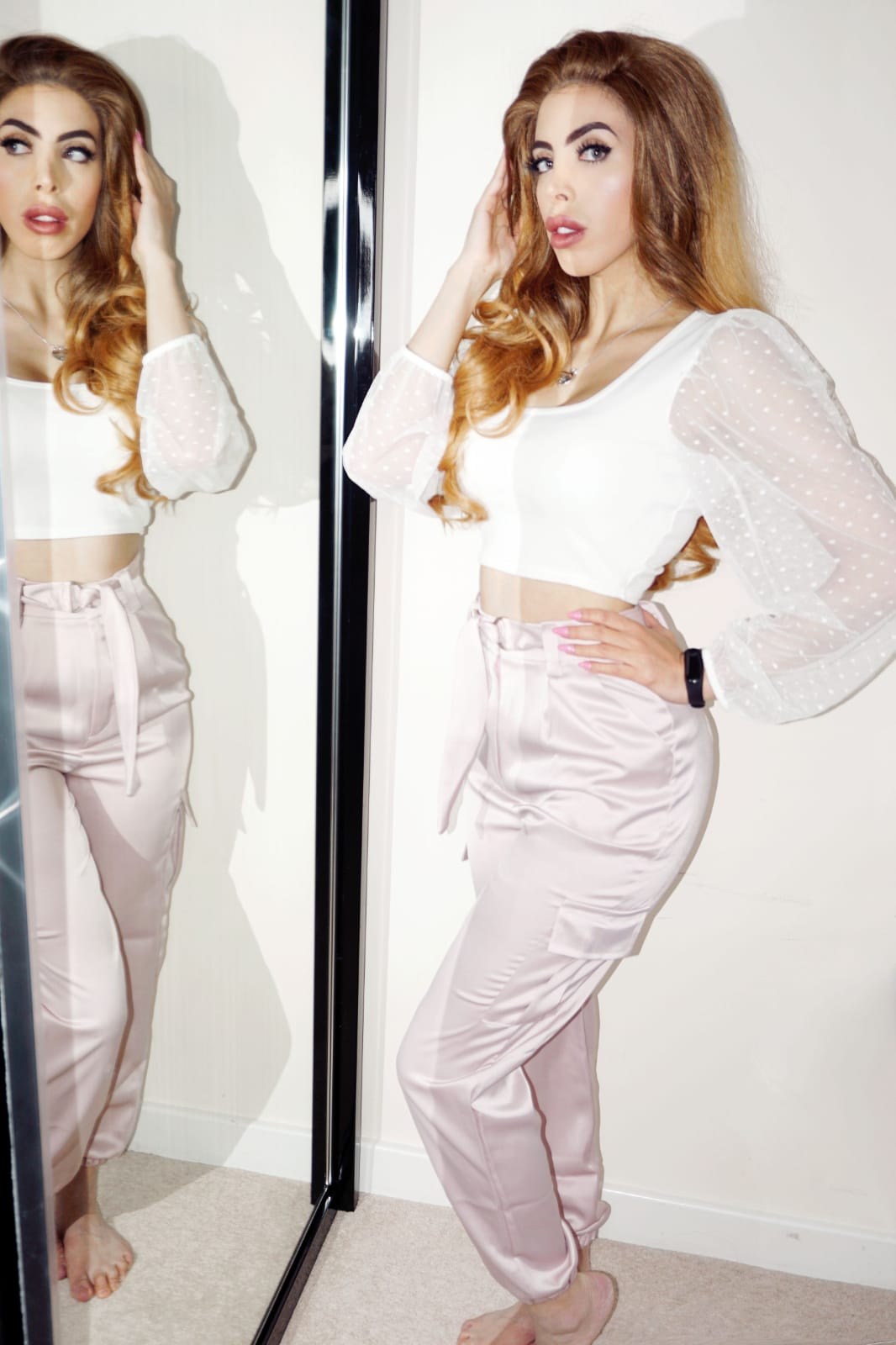 Femme Luxe Rose Belted Cargo Satin Cigarette Trousers in model Athenea.