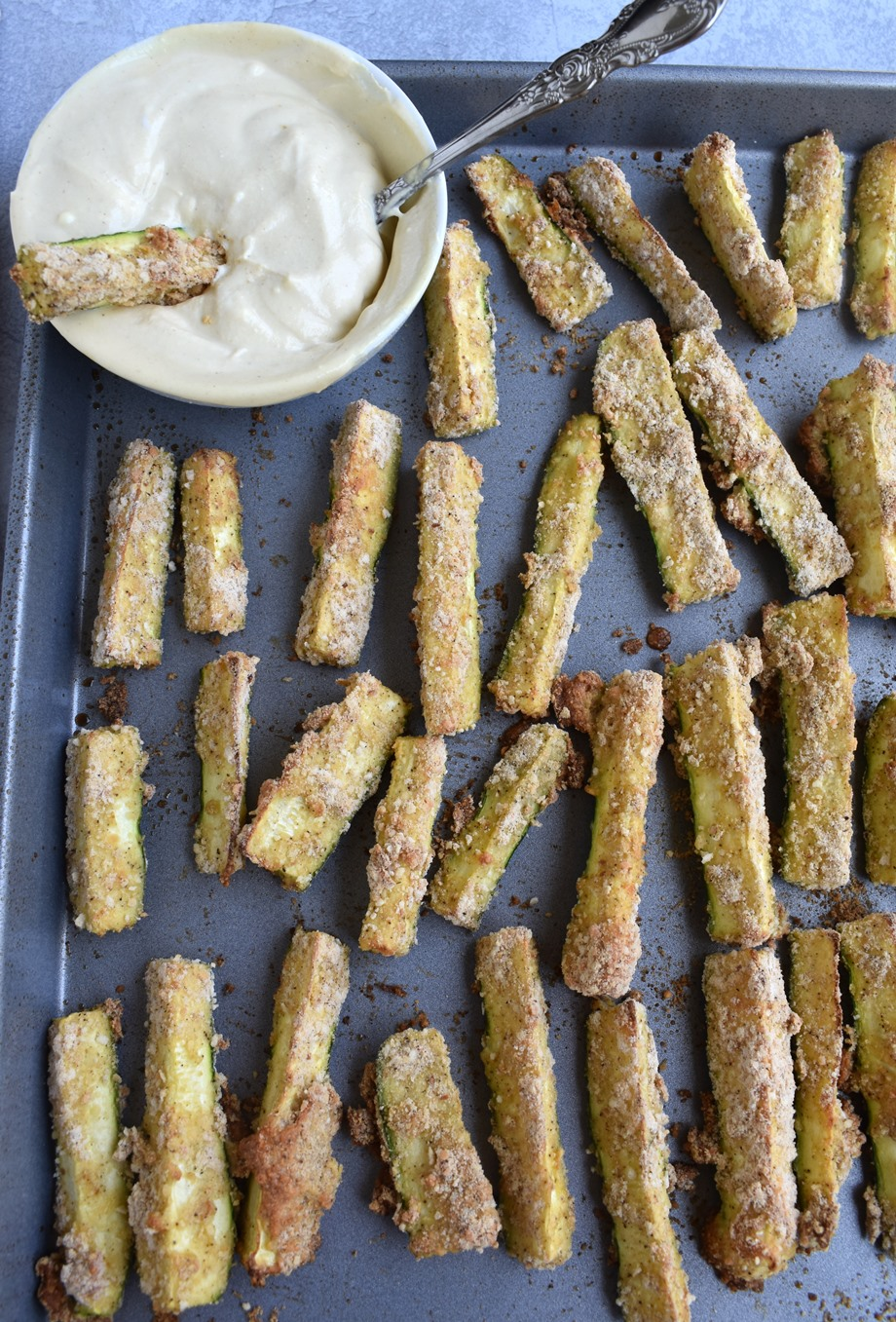 breaded zucchini fries with creamy dijon dipping sauce