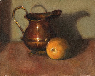 Oil painting of a copper jug beside a lemon.