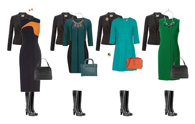 Комплекты капсульного гардероба с платьями и жакетом