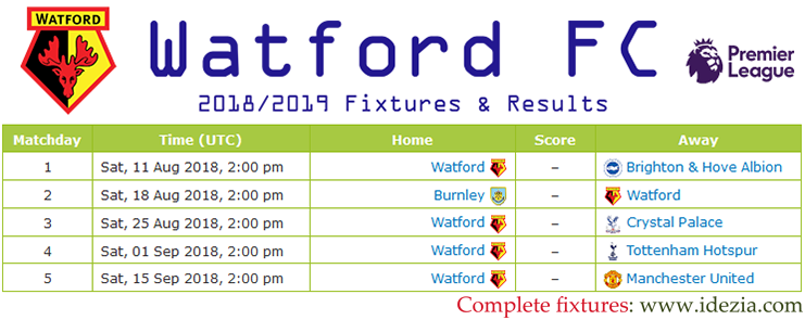 Download Full Fixtures PNG JPG Watford 2018-2019