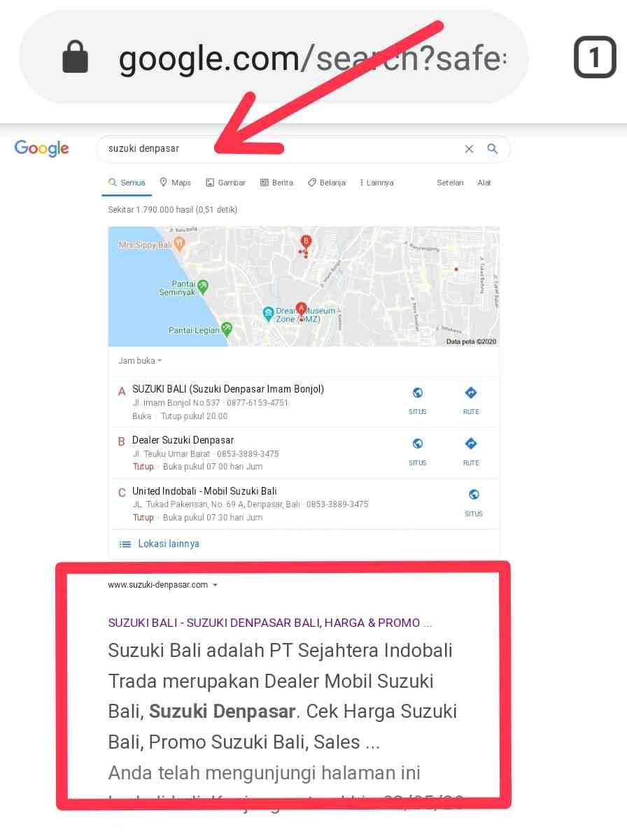 jasa SEO di Bali website Suzuki Denpasar Bali