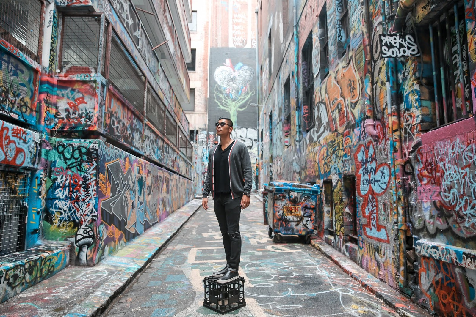 Leo Chan in Hosier Lane in Melbourne