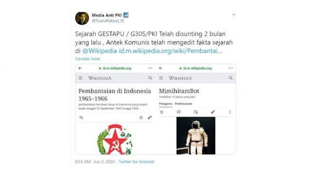 Inikah Identitas Pelaku Penyunting Artikel Menyesatkan Soal PKI di Wikipedia?