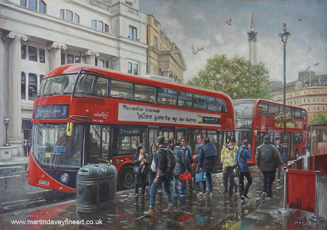 2 buses at london bus stop oil painting