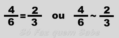 Frações equivalentes. Quatro sextos é igual ou equivalente a dois terços.