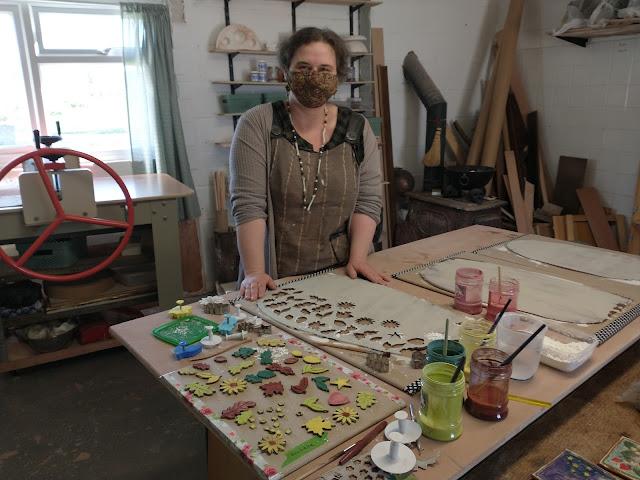 Eli in her pottery studio at Wiltshire Ceramic Studio