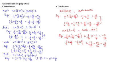 Associative and Distributive properties of rational numbers