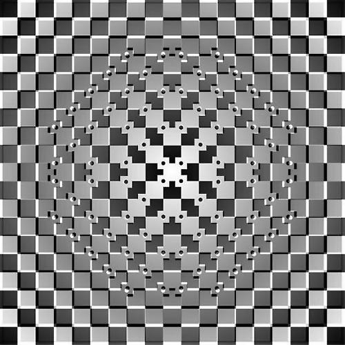 Ortada toplanan damalı bayrak göz yanılması, satranç tahtası, kabarmak