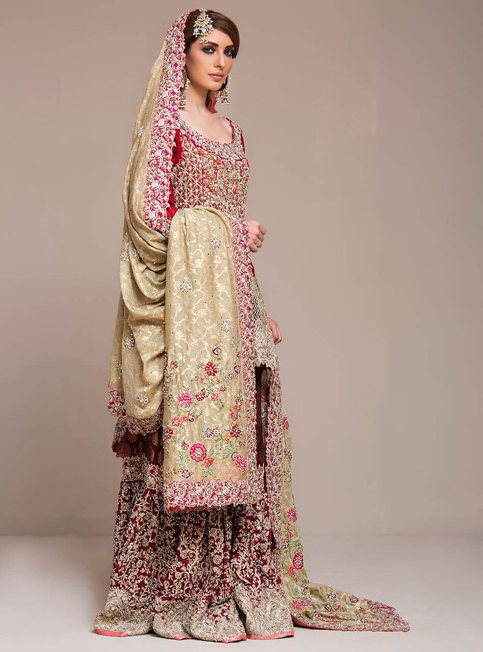 Traditional Red and Maroon Heavy Embellished Pakistani Bridal Wear with Beige Gold Dupatta