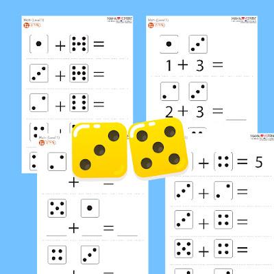 Mama Love Print 自製工作紙  -  骰子連線和簡單加數練習題 Kindergarten Domino Addition Math Worksheet