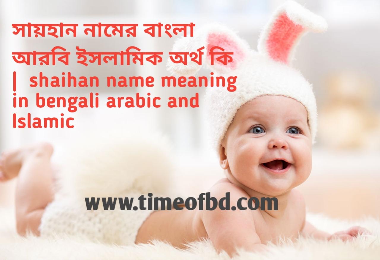 সায়হান নামের অর্থ কী, সায়হান নামের বাংলা অর্থ কি, সায়হান নামের ইসলামিক অর্থ কি,  shaihan name meaning in bengali