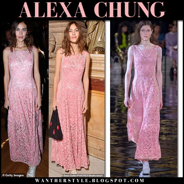Alexa Chung in pink lace maxi dress stella mccartney fashion week outfits october 1