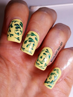 Green & Yellow Drag marble Nail Design Tutorial