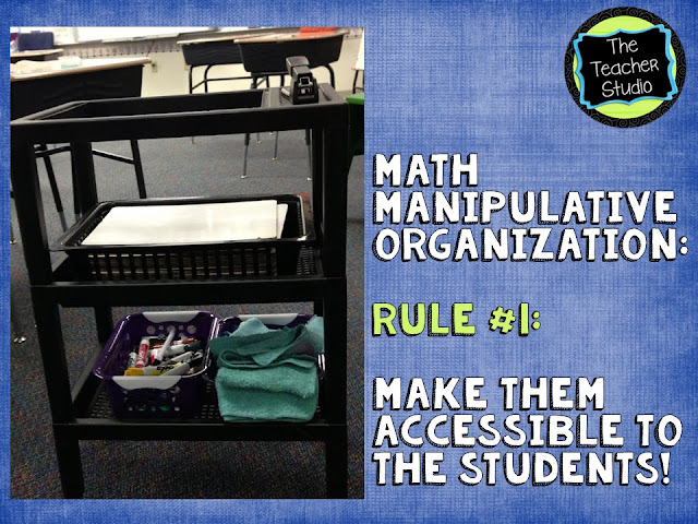 Students need to learn to access and use math manipulatives independently, so we need to have classroom organization strategies to help!  Check out this post about how I organize math supplies.