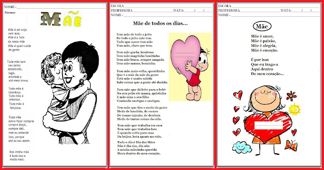 Confira nesta postagem poemas, poesias e textos para trabalhar o Dia das Mães.