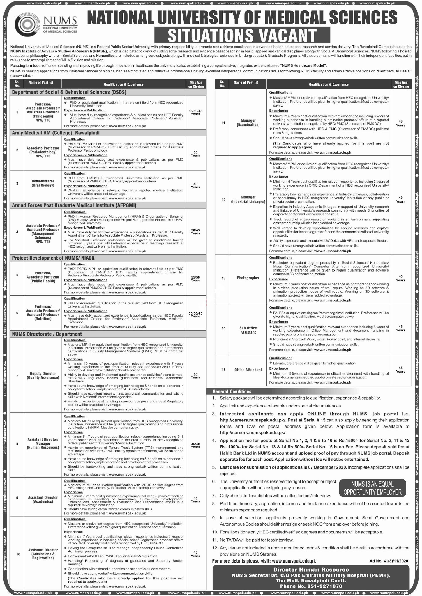 Latest National University of Medical Sciences NUMS Management Jobs 2020 for Sub Office Assistant, Office Attendant, Professors and more