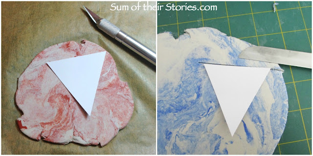 easy to make Marbled Jewellery with air hardening clay