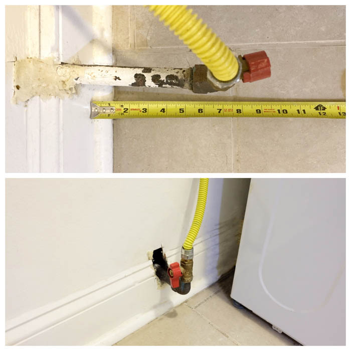 laundry room gas pipe before and after