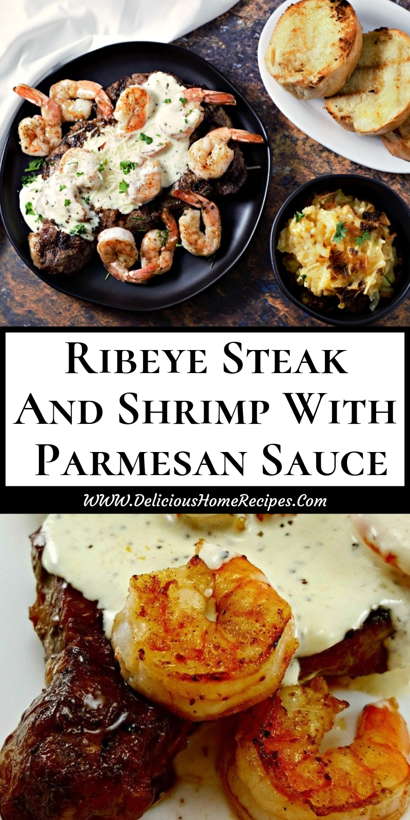 Ribeye Steak And Shrimp With Parmesan Sauce