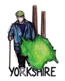 "Yorkshire region, coloured green; two industrial chimneys; man with coat, flat cap and walking stick. The word ""Yorkshire"" in ALL CAPS is below the image."