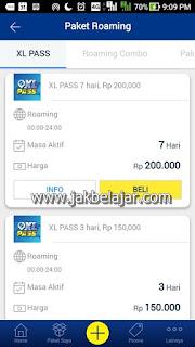 Tampilan Paket XL Pass melalui aplikasi myXL