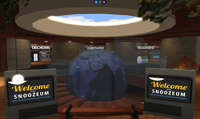"A virtual lobby room called the ""Snoozeum."" There is a globe in the middle and doorways to areas labeled ""Disorders"" ""Assessment"" and ""Treatment"""