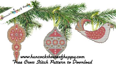 It was three mid-century modern rustic Christmas cross stitch patterns.
