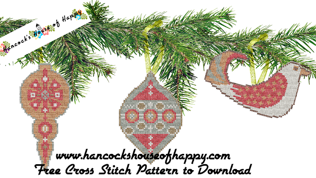 Rustic Mid-Century Modern Style Cross Stitch Christmas Tree Ornaments