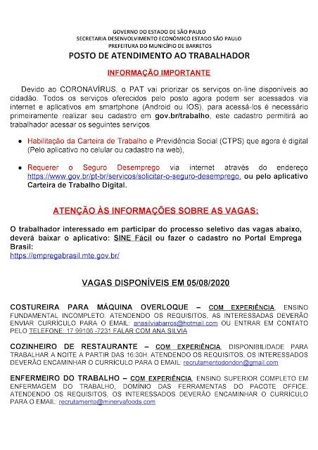 VAGAS DE EMPREGO DO PAT BARRETOS PARA 05-08-2020 PUBLICADAS NA TARDE DE 04-08-2020 PAG. 1