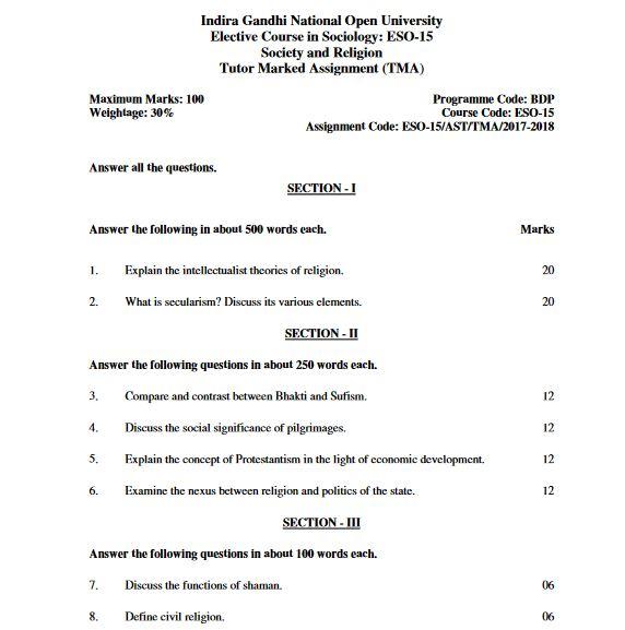 IGNOU BDP Sovled Assignment 2017-18 ESO-15 English Medium