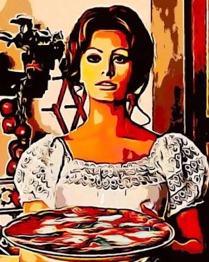 SOPHIA LOREN with PIZZA