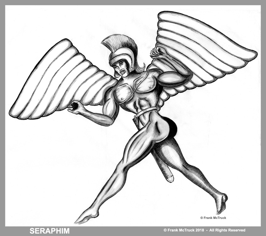 "Frank McTruck ink and ink wash illustration ""Seraphim"""
