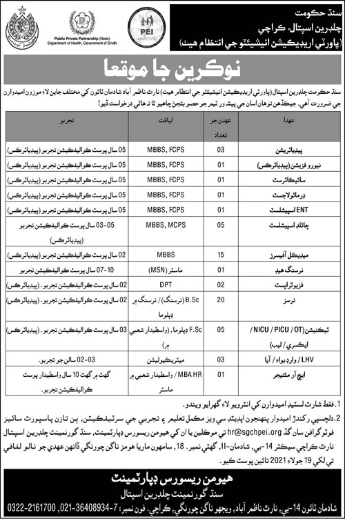 Sindh Government Children Hospital Poverty Eradication Initiatives Jobs 2021