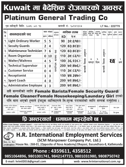 Jobs in Kuwait for Nepali, Salary Rs 72,476