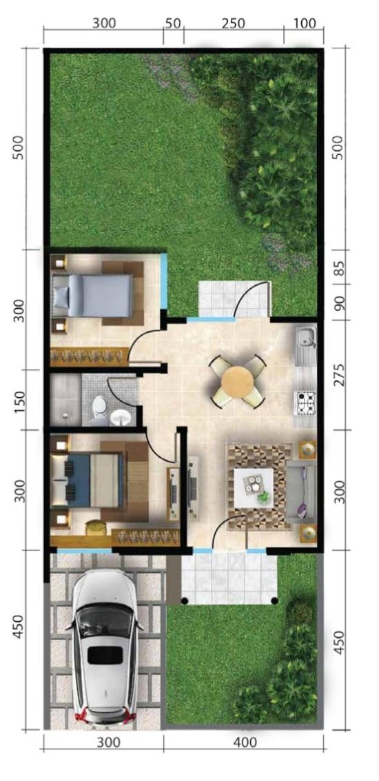 denah rumah minimalis 7x17 2 kamar tidur 1 lantai