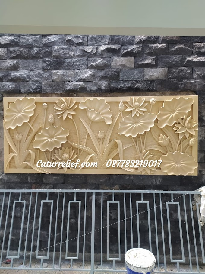 Relief Batu Alam Paras Jogja Motif Tumbuhan bunga lotus Terbaru