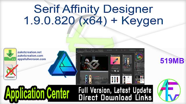 Serif Affinity Designer 1.9.0.820 (x64) + Keygen