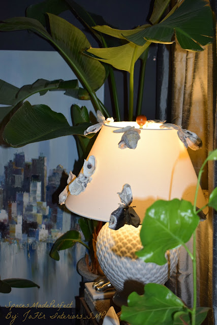 Decorative Ceramic Oval Lampshade decorated with Oyster shells