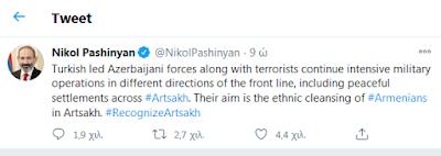Prime Minister Nikol Pashinyan took to Twitter