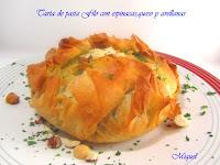 Tarta de pasta Filo con espinacas, queso y avellanas