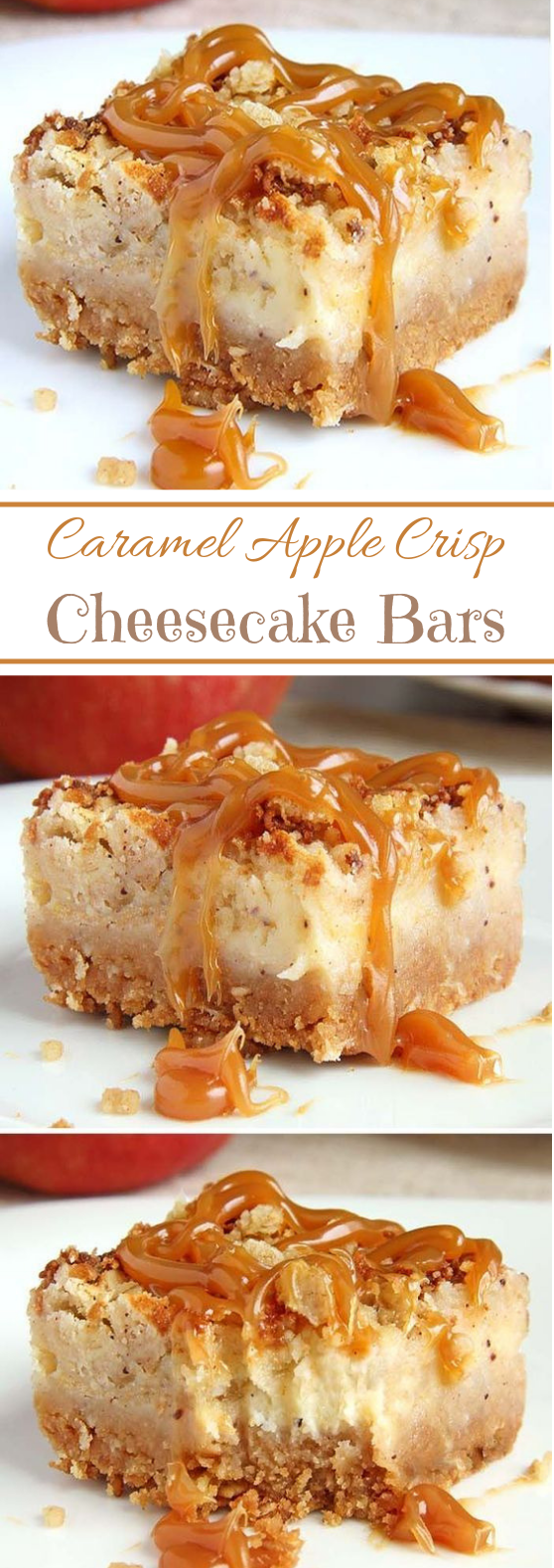 Caramel Apple Crisp Cheesecake Bars #bars #dessert