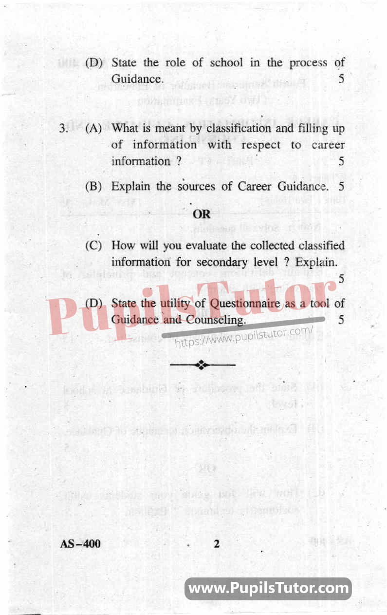 Career Information, Guidance And Counselling Question Paper In English