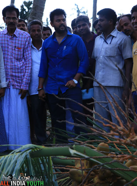 Ram Mohan Naidu with people during cyclone