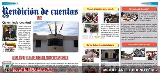 Revista Rosarienses No. 02 y la rendición de cuentas del alcalde de Villa del Rosario 2012 | Rosarienses, Villa del Rosario